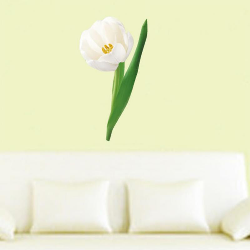 New Cute Home Decor Wall Sticker Paper Art Removable Mural Decal Big White Tulip