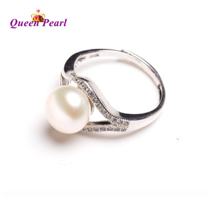 4 color 925 Silver Real Freshwater Pearl Ring FREE SIZE ADJUSTABLE Finger Ring Fashion Women Jewelry(China (Mainland))
