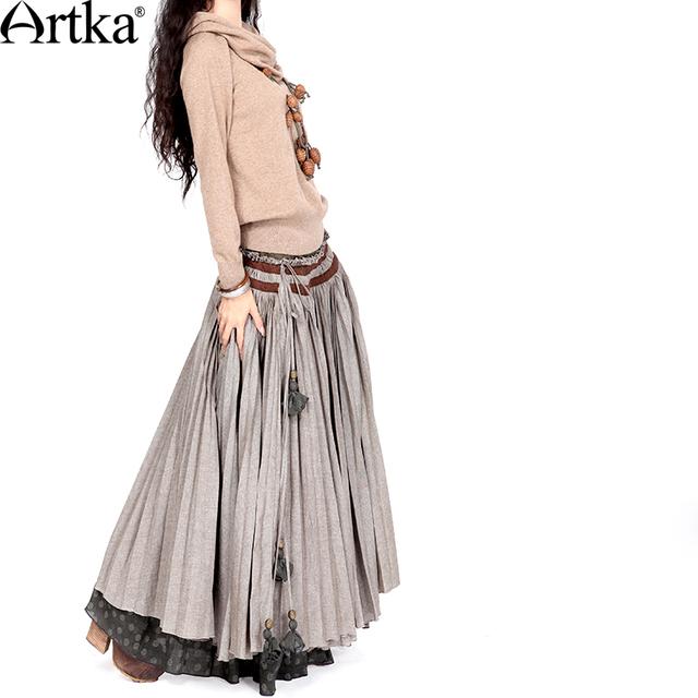 Artka ретро женская осенняя одежда цыганская облегающяя классическая высококачественная элегантная удобная серая длиная юбка с качелями QA10123Q