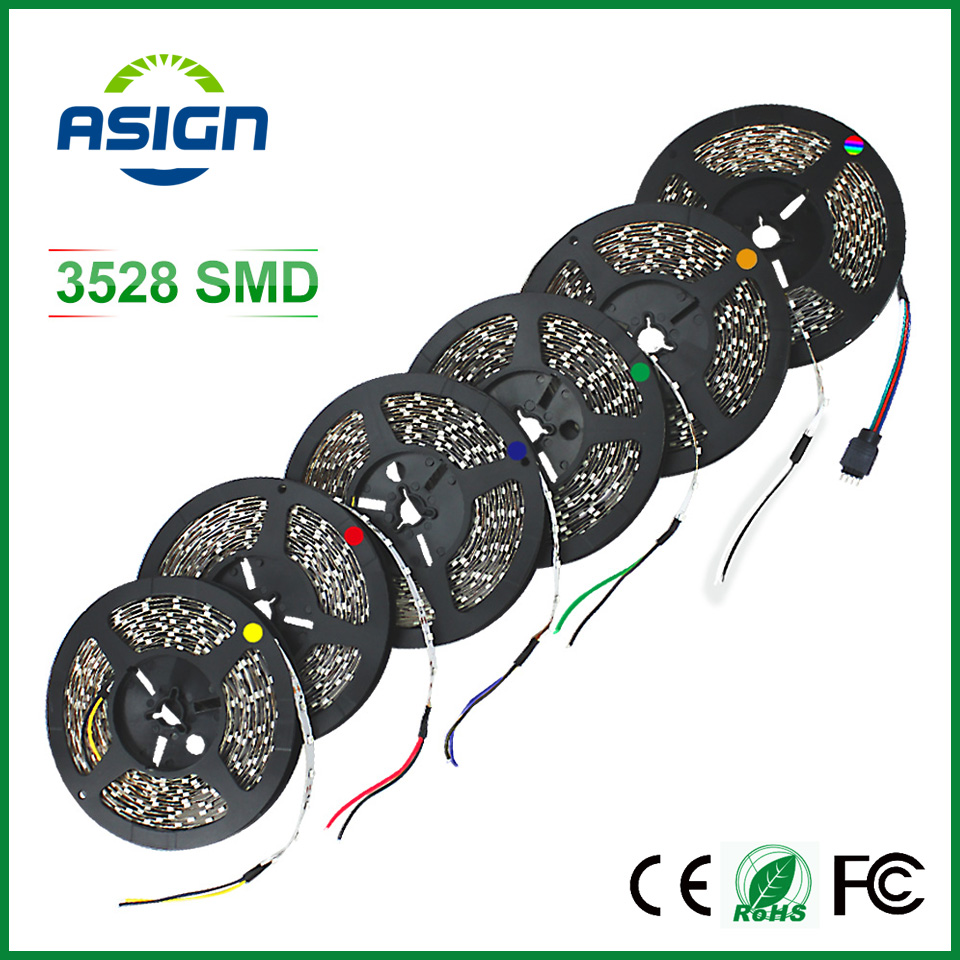 3528 LED strip Non waterproof single color only led strips 5m smd3528 LED ribbon tape White/Warm White/Red/Green/Blue/Yellow(China (Mainland))