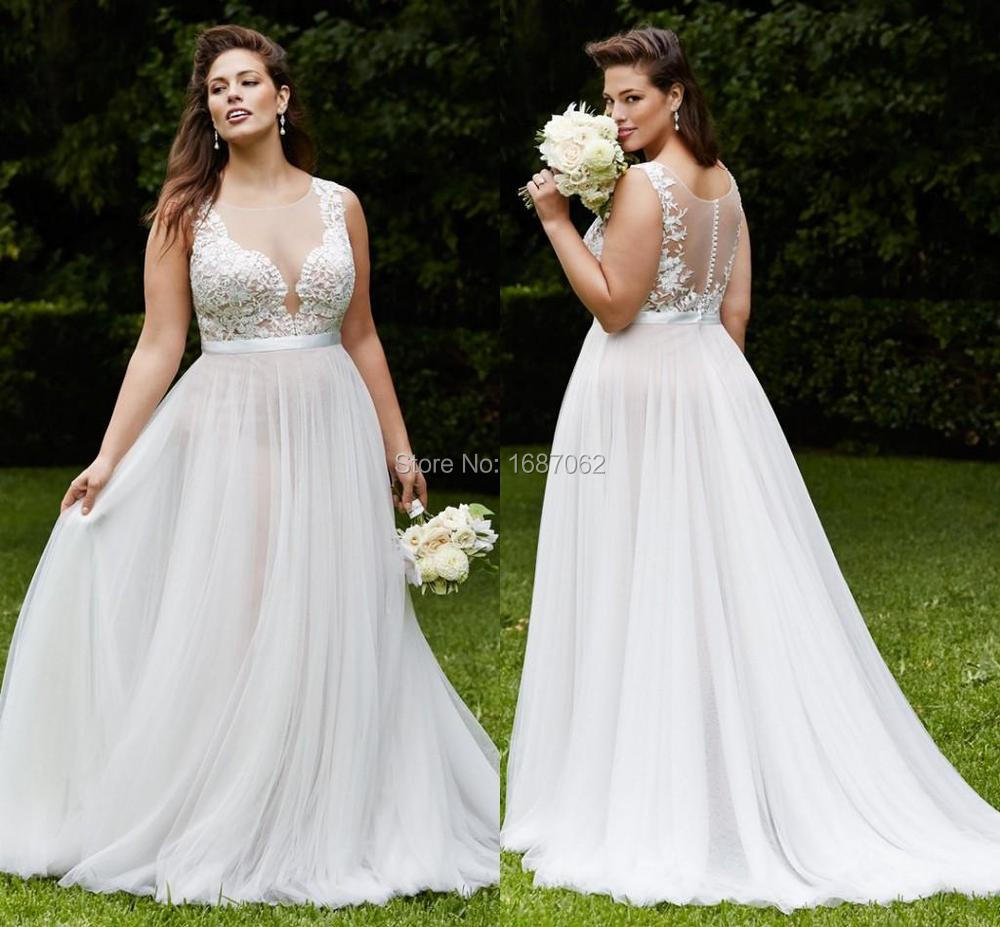 Buy Elegant Plus Size Lace Wedding Dresses Vintage Beach Bri