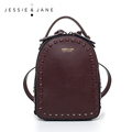 JESSIE JANE Women s Fashion Rivet Design Split Leather Backpack Women Casual Daypacks 1825