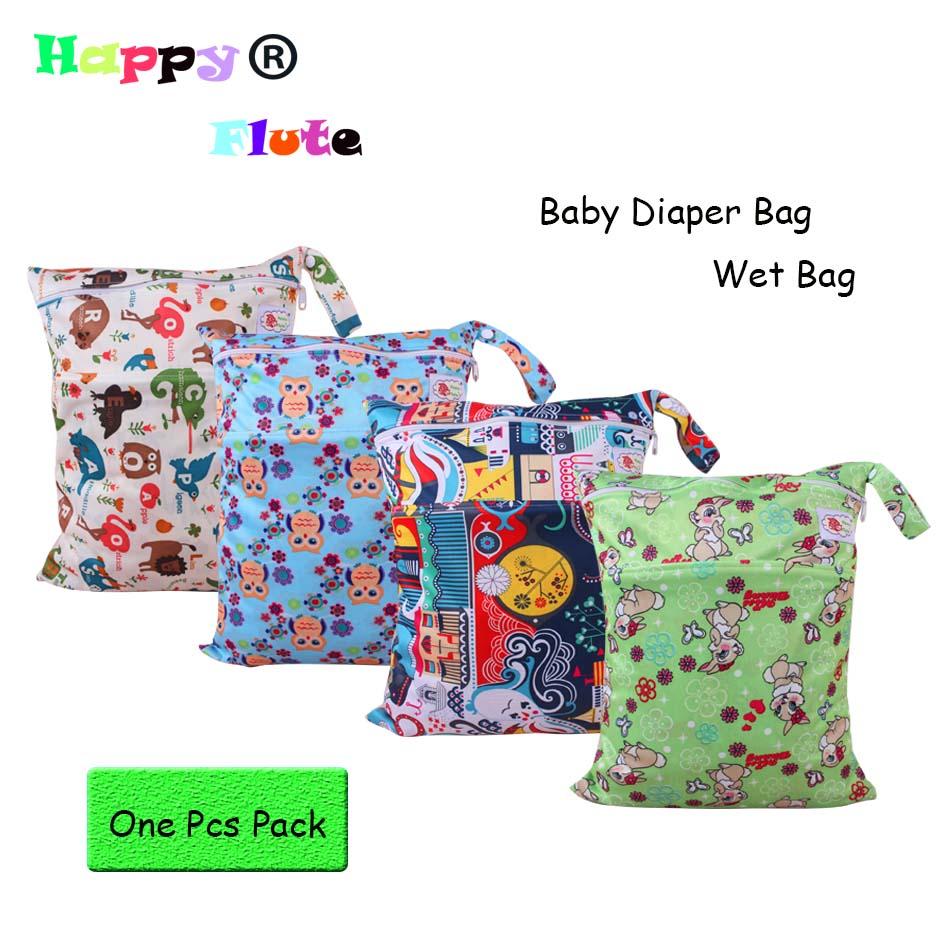 Happyflute Wet Bag Baby Diapers Bag 30x40cm plain color handle 2 zippers 1pcs freeshipping