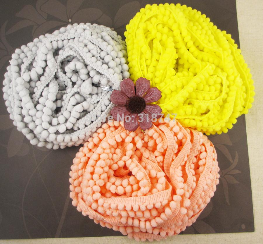 10mm Width Pom Pom Trim Ball Fringe Ribbon DIY Sewing Accessory Lace 3yards lot 020002001