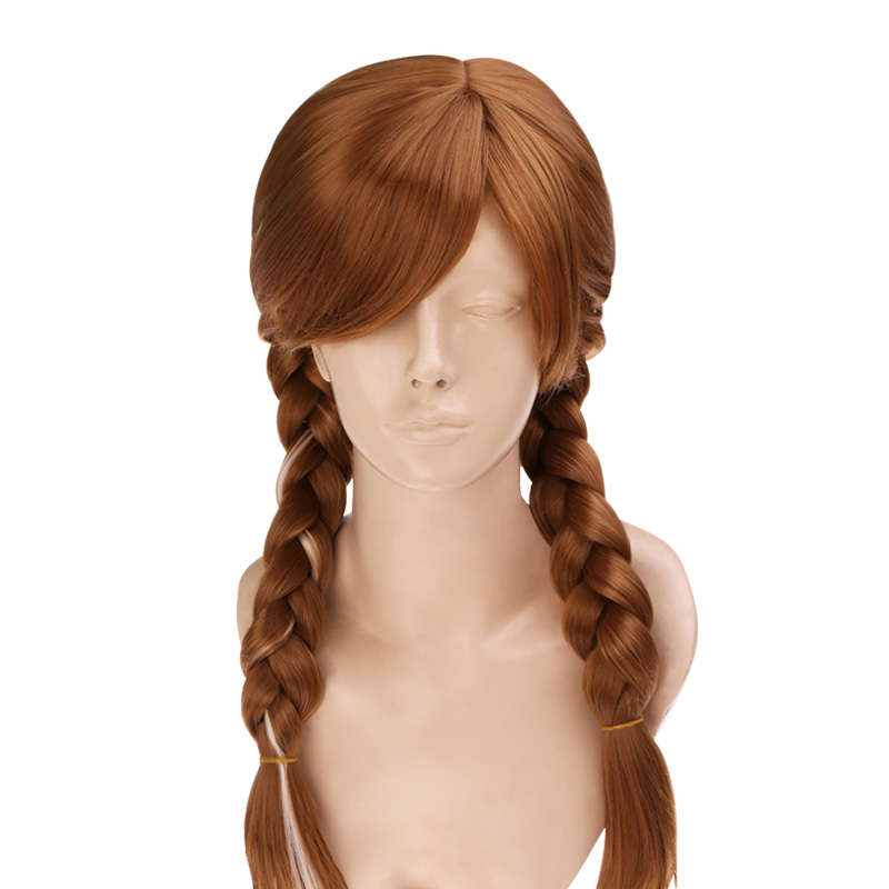 New Cartoon Movie cosplay Wig Queen Anna Elsa Wig Long Blonde braided lace front wigs Lolita ponytail Classic Halloween Hair(China (Mainland))