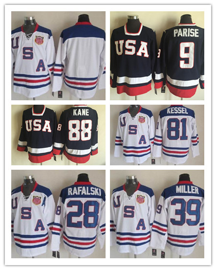 2010 Team USA Ice Hockey Jersey OLYMPIC #9 Zach Parise #88 Patrick Kane #81 Phil Kessel #28 Brian Rafalski#39 Ryan Miller Jersey(China (Mainland))