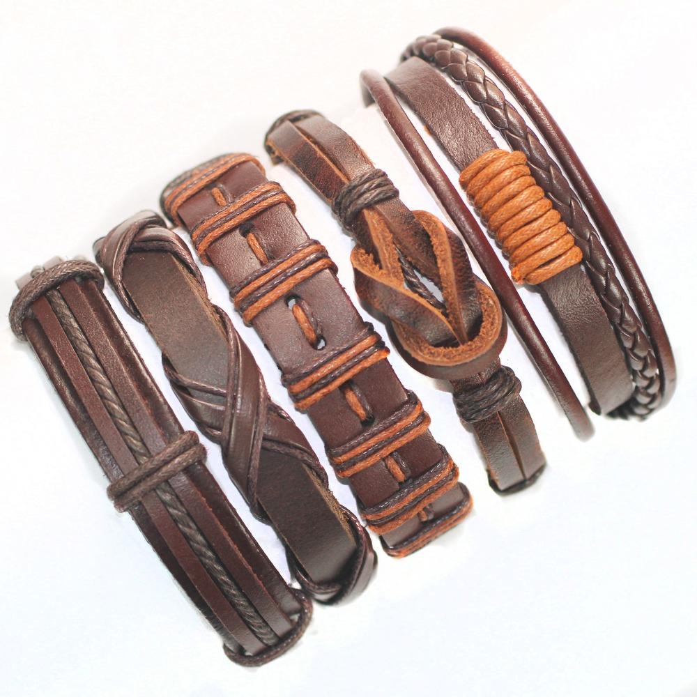 brown wrap real leather bracelet men 2015 friendship Bracelets bangles women pulseira masculina mujer bracciale uomo - SunFlower Trade Co.,Ltd store