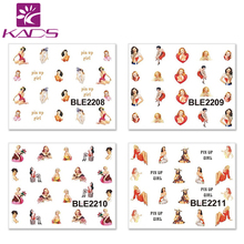 11sheet set BLE2204 2214 Sexy women Designs Water Transfer Nail Art Stickers Nail Beauty Foil Decals
