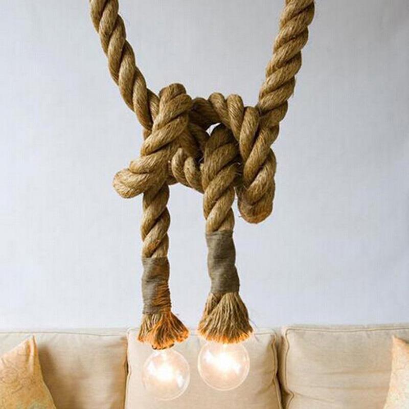 LOFT INDUSTRIAL Toronto Manila 3M Rope Ceiling Lights Chandeliers RUSTIC vintage hemp rope light(China (Mainland))