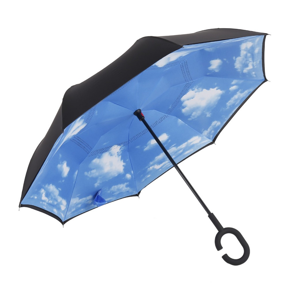 Generic Double Layer Upside Down Windproof UV Protection Inverted Umbrella Straight Reverse Design Umbrella for Car Rain Outdoor(China (Mainland))