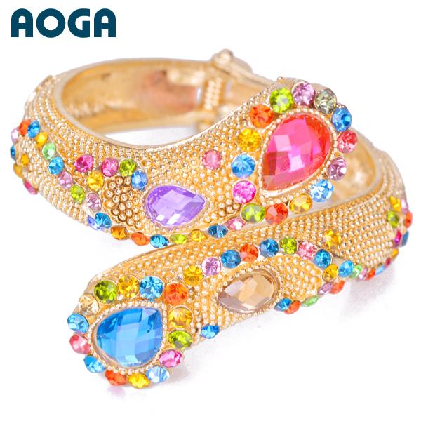 list! 2014 Fashion Gold Plated Full Rhinestone Crystal Bracelet Cuff Bangle Summer Gift B23182 - Taideli ( AOGA Brand store Jewelry)