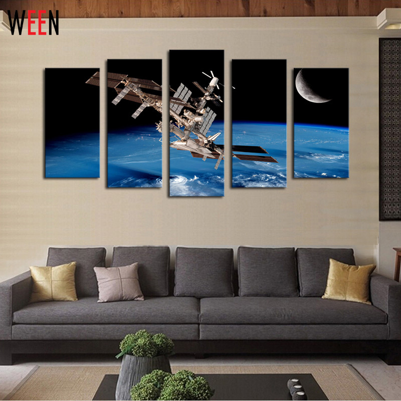 5 Panels Outer Space Satellites Scenery Picture Print Painting Modern Canvas For Wall Home Decoration Artwork With DIY Frame(China (Mainland))