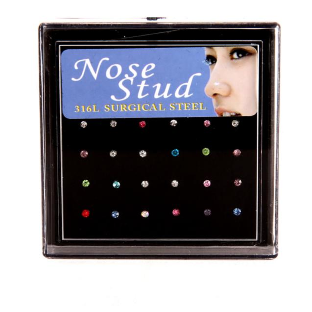 24pcs Nose Ring Fashion Body Jewelry Nose Stud Stainless Surgical Steel Nose Piercing Crystal Stud free shipping(China (Mainland))