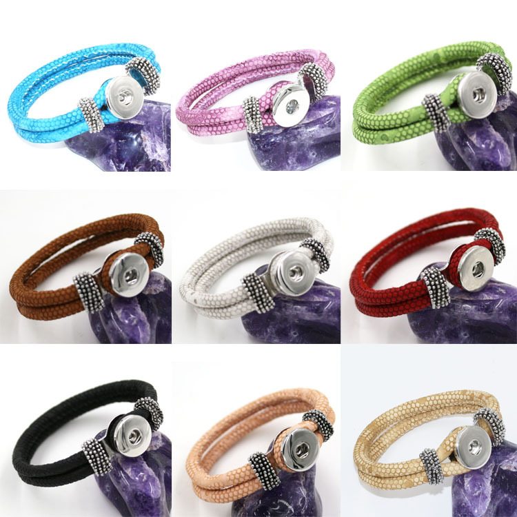DIY interchangeable braided leather wrap bracelet fits snap button charms.plated bracelets DAYKZ0235-DAYKZ0245 - American Girl Doll Clothes store