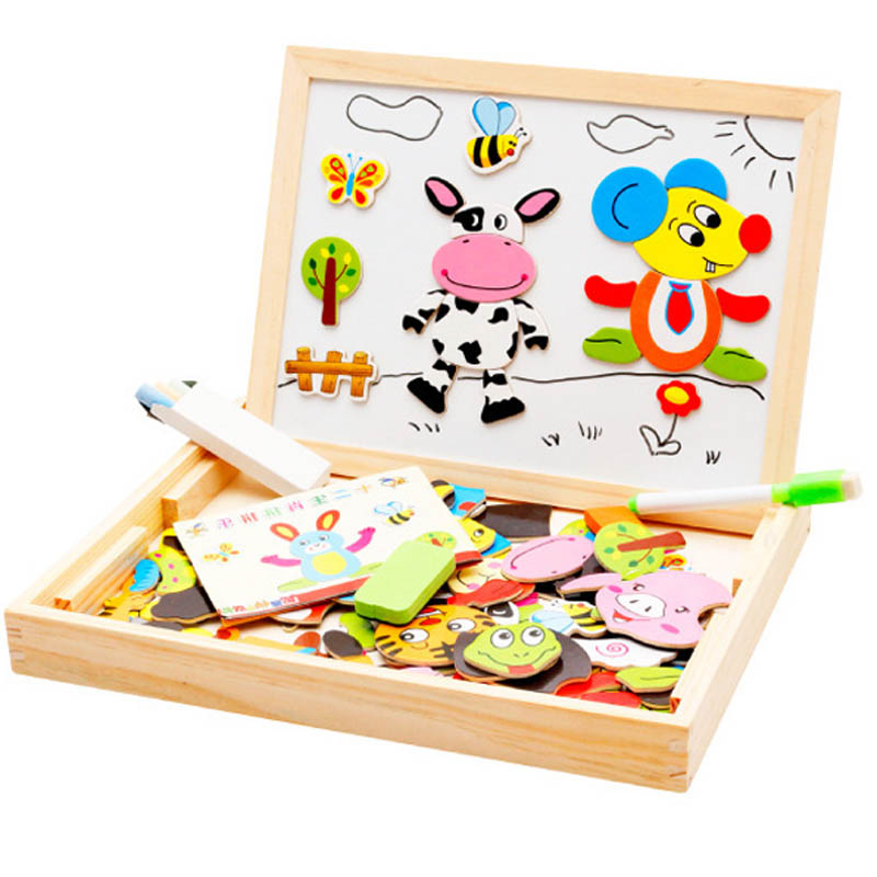 Multifunctional Wooden Animal Magnetic Puzzle Learning & Education Children Toys Kids Gifts Jigsaw Baby's Drawing Easel Board(China (Mainland))