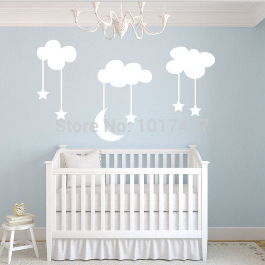 Moon stars baby nursery vinyl wall stickers large 220 for Baby nursery wall decoration