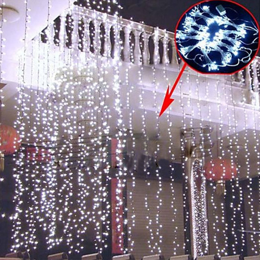 Outdoor Curtain String Lights : 3Mx3M 300 LED christmas lights outdoor Lighting String Lumiere Patio Garland Curtain Outdoor ...