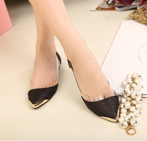 Hot slae! Low Price 2014 New Brand Fashion Sexy Pointed Toe Womens Shoes Loafers Heel Comfort Flats BLACK GOLD ladies - LALALA shops store