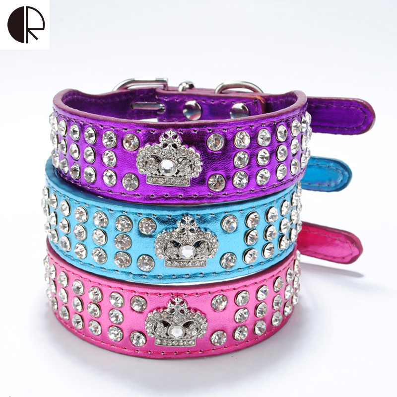 Bling 3 Row Rhinestone Leather Large Pet Dog Colloars Crown Charm Dog Harness Necklace Supplies For Dogs Accessories HP646(China (Mainland))