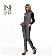 OSA 2014 Fashion Autumn Clothing Set Suit Turn Down Collar Puff Long Sleeve Flouncing Blouses + Pant,2 Piece Suits  SR480002