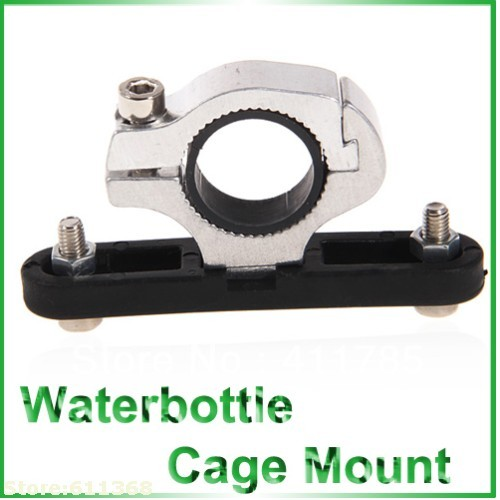 Universal Waterbottle Cage Mount for Bike Handlebar (Silver with Black)
