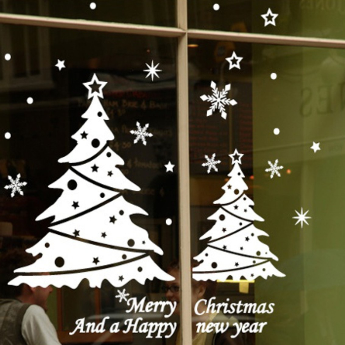 Romantic Tree Snowflake Wall Stickers Fashion Window Sticker Christmas Day Decor - Home Shop store