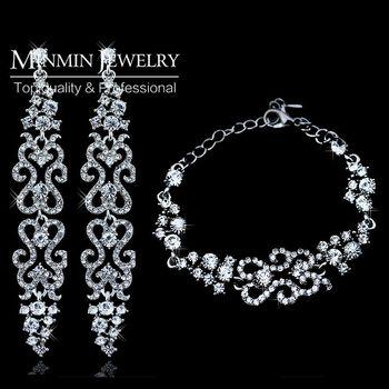 Оригинальный дизайн европейская модель кристалл серьги браслеты свадебный ювелирные ...
