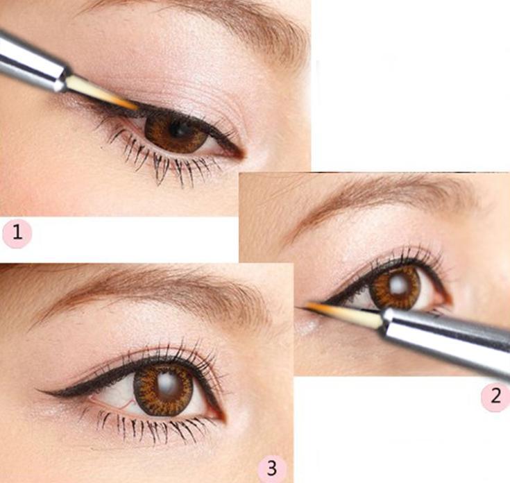 2015 Fashion Waterproof Hot Beauty Eye Thin Liner Eyeliner Shadow Gel Brand Makeup Cosmetic Brush MU