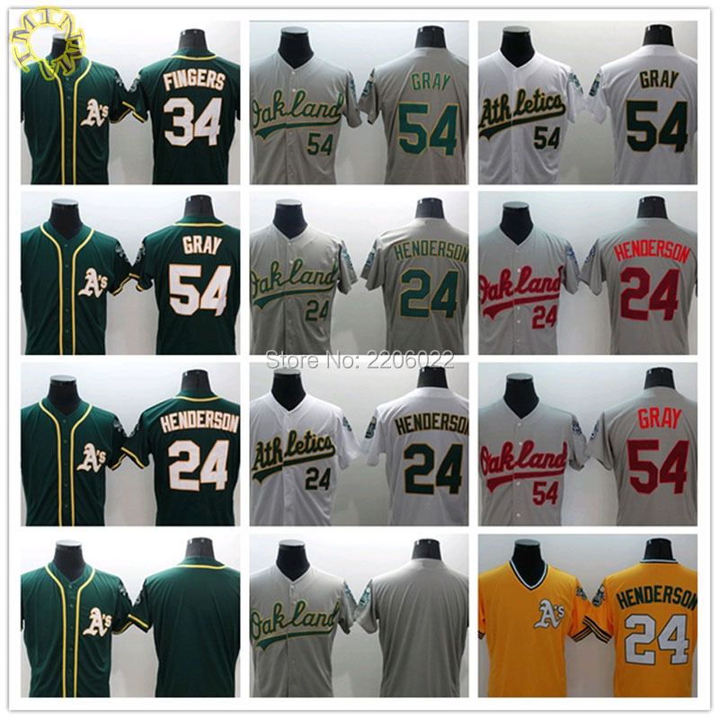 Oakland Athletics Jersey 24 Rickey Henderson 54 Sonny Gray 34 Rollie Fingers Baseball Jersey Top quality embroidery SIZE:M-3XL(China (Mainland))
