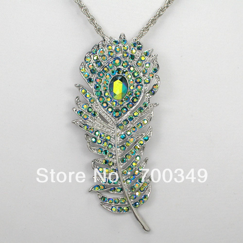 Wholesale Peridot AB colour Crystal Peacock Feathers Pendant Necklaces Jewelry F238 G<br><br>Aliexpress