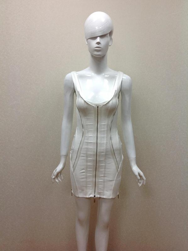 2015 Spring Summer Top Quaility Women White Spaghetti Strap Zippers Mini Bandage Dress Casual Party Bodycon Dresses - Fashion Factory store