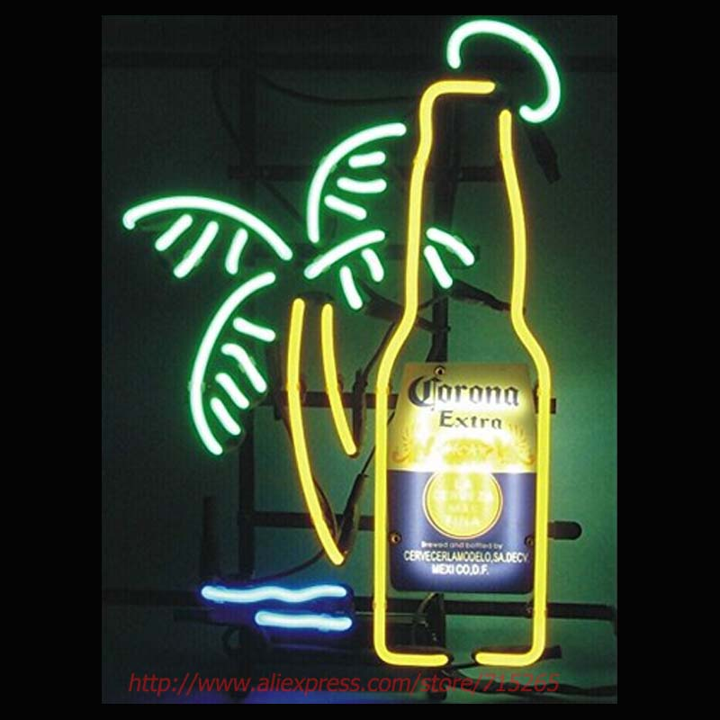 Neon Sign Corona Extra Bottle Palm Tree Neon Bulbs Signs Glass Tube Neon Publicidad Beer Signs Lighted Neon Glass Light VD 19x15(China (Mainland))