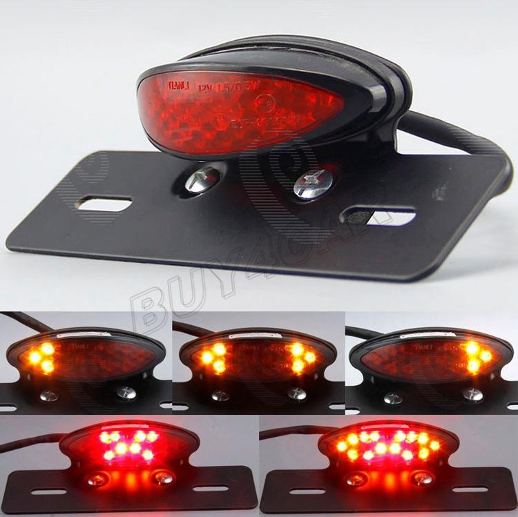 Red Lens LED Motorcycle Brake Tail Light Lamp License Plate Lamp for Harley Suzuki Honda Kawasaki Yamaha Custom Bike Choppers(China (Mainland))