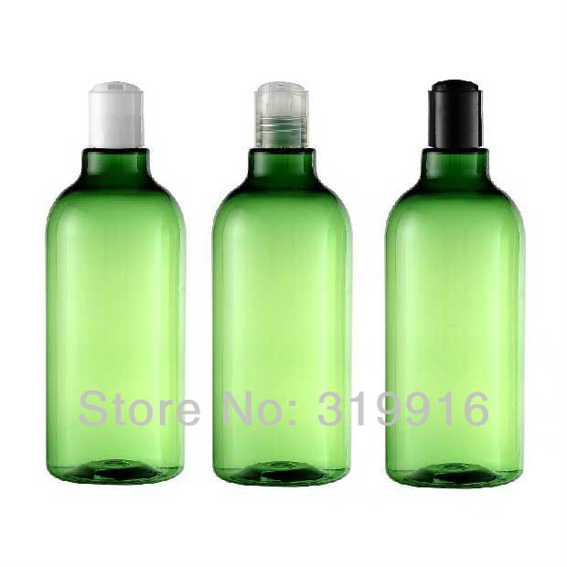 Free shipping big capacity 500ml(10pc/lot )  green round empty cosmetic packaging plastic  bottles  with disc top cap<br><br>Aliexpress