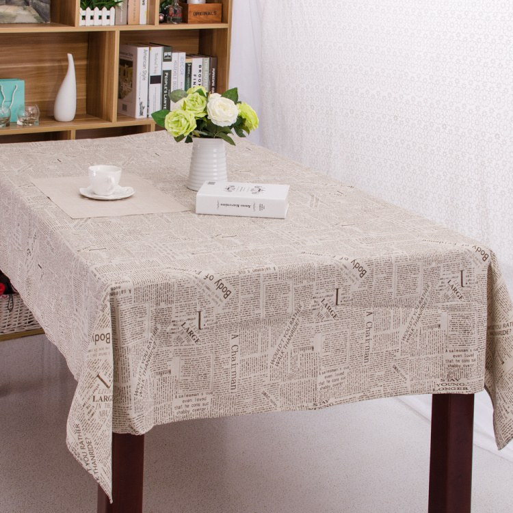 Linen Table Cloth European style Vintage Newspaper Print Tablecloth Table Cover manteles para mesa High Quality Free Shipping(China (Mainland))