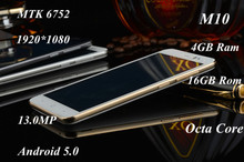 5.0 inch  Smartphone  M10 MTK6752 Octa Core 1080P 4GB RAM 16GB ROM Dual Sim 13.0MP Camera android cell Mobile Phone