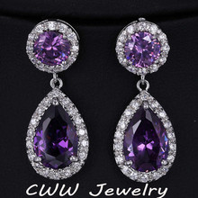 Beautiful and Good Quality Big Amethyst Purple AAA+ Swiss Cubic Zirconia Crystal Long Drop Earrings For Women (CZ016)(China (Mainland))