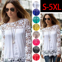 Yb41 min order 2pcs New Lace Female Floral Long Sleeve Chiffon Plus Size Feminin Blouse Shirt