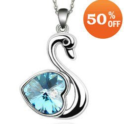 4 colors swan design white gold plated rhinestone crystal fashion pendant necklace jewelry women 3J104 - Better & More store
