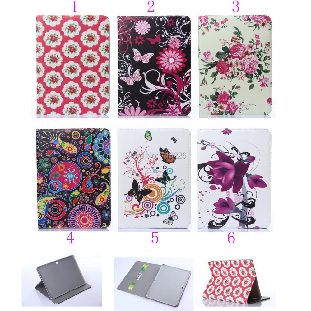 Folio flip Folding Book Leather Case Cover Samsung Galaxy Tab 4 10.1 inch SM-T530 flower butterfly painted case - Accessory for Cell Phone Button Battery store