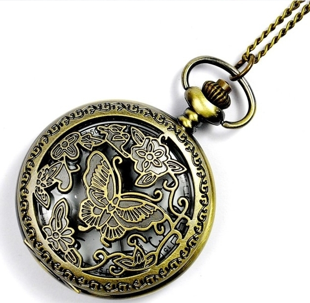 Bronze Butterfly Hollow out Retro Pocket Watch New Designer Women Girl Chain Necklace Free Shipping Drop Shipping Gift Wholesale
