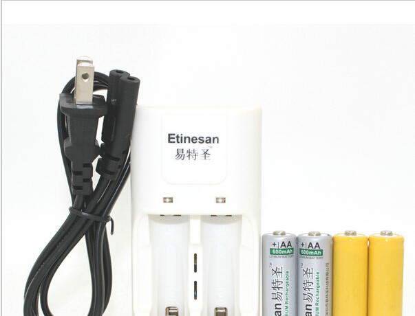 2pcs Etinesan 3.2v 600mAh 14500 AA LiFePo4 lithium rechargeable battery W/ dummy + 14500 10440 aa aaa charger Market lack(China (Mainland))
