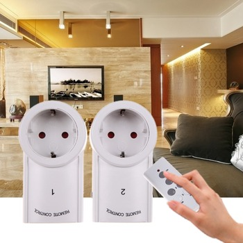 Free Shipping EU Plug 2 Pack 120V 10A Remote Control Wireless Power Outlets Light Switch Socket