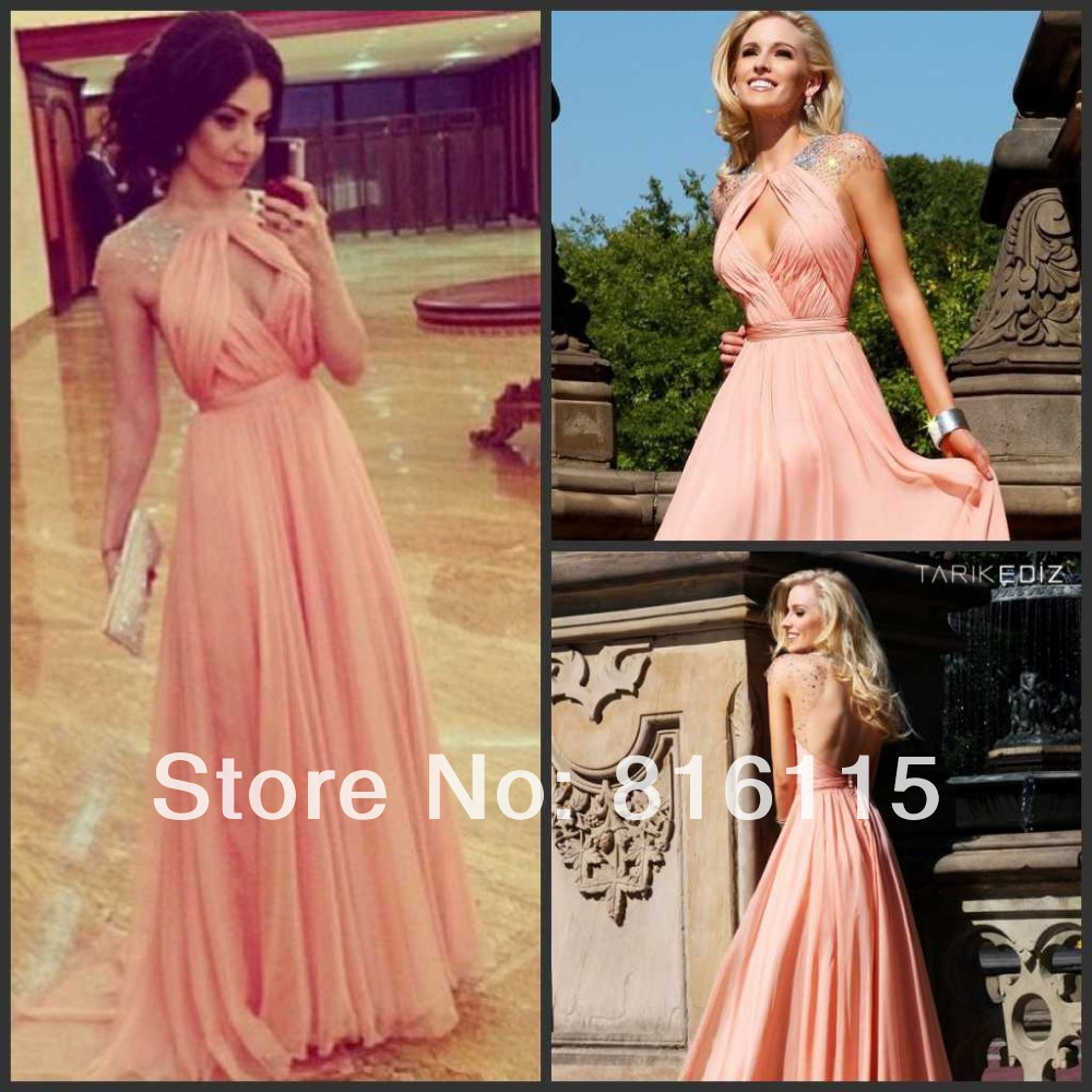 New Elegant Nude Pink Sexy Keyhole Front Cap-sleeve Beaded Tarik Edize Night Gown Backless Evening Dress Prom Dresses(China (Mainland))