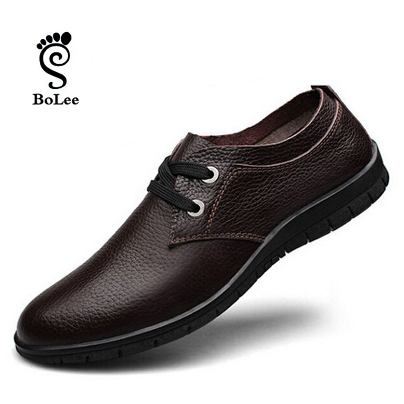 mens genuine leather shoes casual Mens Brand Pointed Toe Lace-up sneakers man Flats