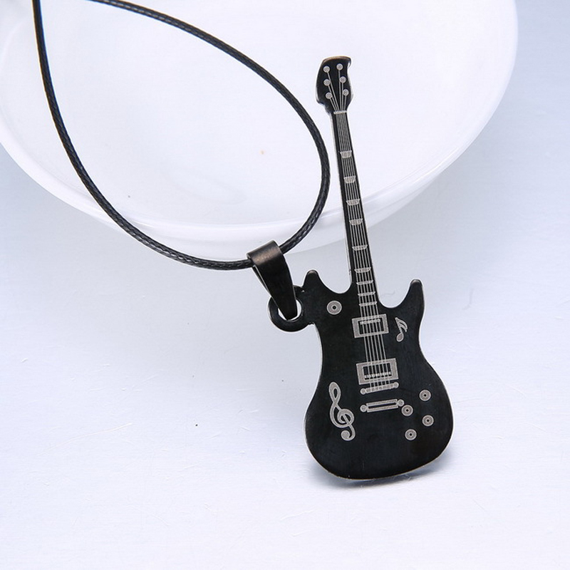 Fashion guitar Pendant 316L Stainless Steel necklaces & pendants Leather Chain men necklaces(China (Mainland))