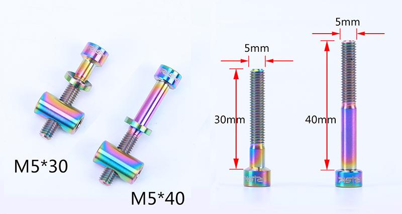 2x RISK TC4 Titanium Screws M5x30//40mm for Seatpost Bike Bicycle DIY Parts