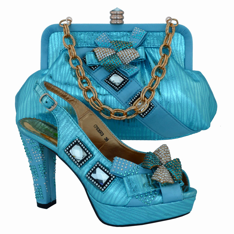 YDX31-6! sky blue!latest style African shoes and bag free shipping,top quality Italian ladies shoes and matching bag set!(China (Mainland))