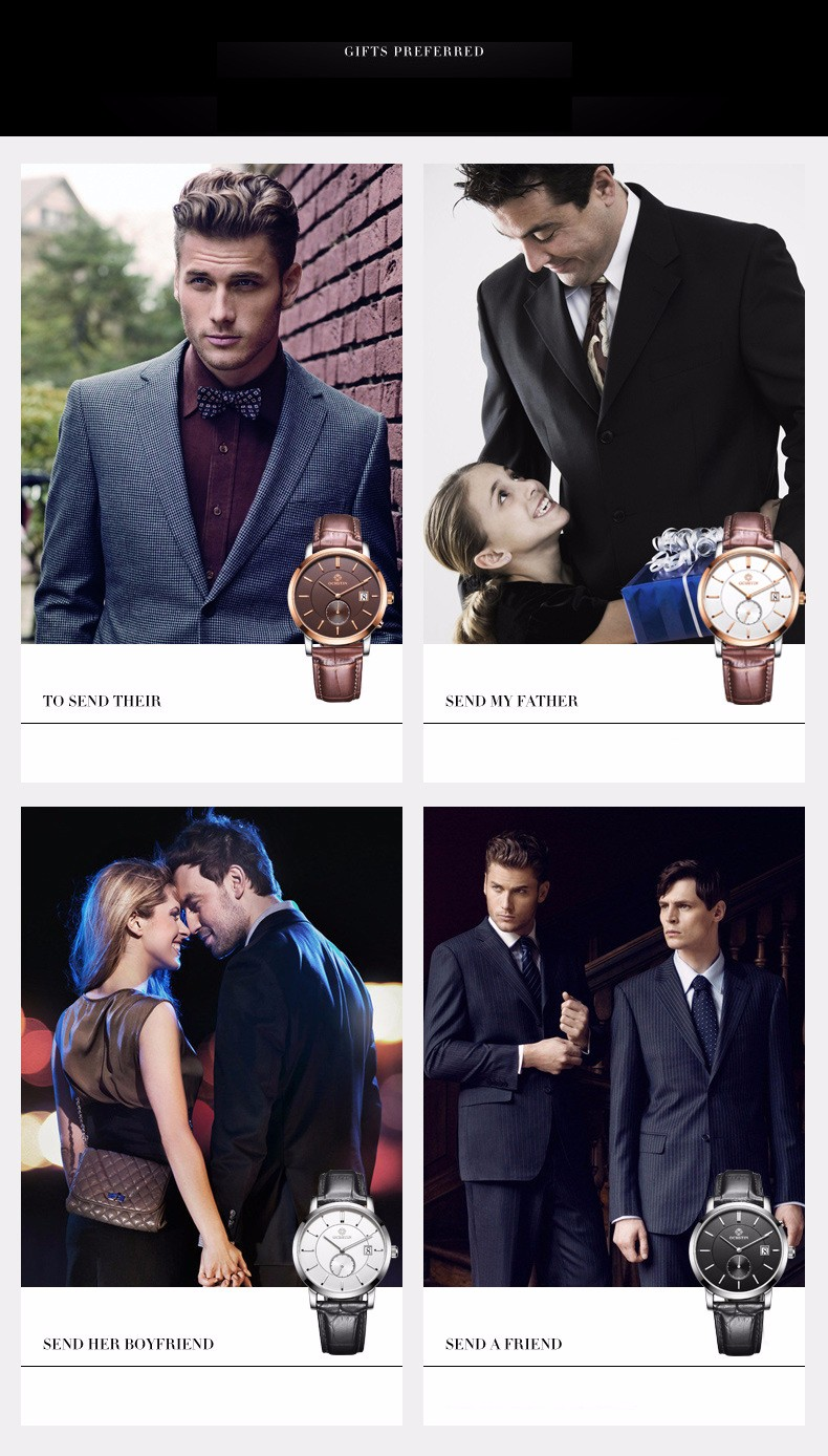Марка Классическая Мода Повседневная Бизнес Смотреть Мужчины Кварцевые Аналоговые Наручные Часы Кожаный Ремешок Сапфировое Календарь Часы