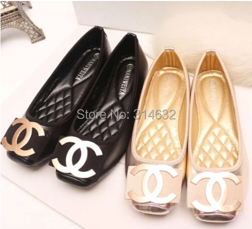 2015 Personalized C Metal buckle Bowknot square head Womens shoe Single shoes women Ladies Shallow mouth flat 35-41 - High Fashion international trade company store
